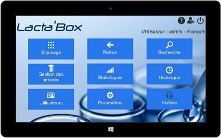 Visual of the home page - Lacta'Box software