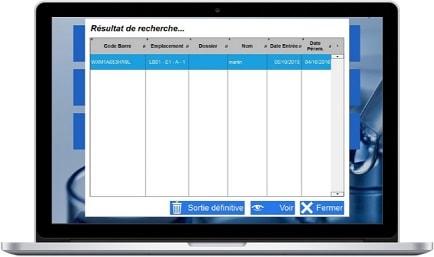 Visuel de la page de recherche du logiciel Lacta'Box